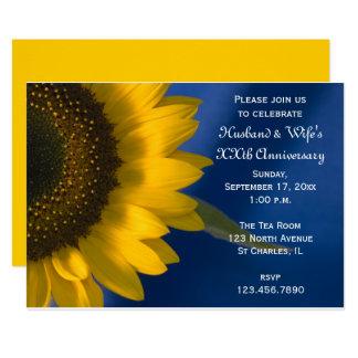 Sonnenblume auf blauem Hochzeits-Jahrestags-Party Karte