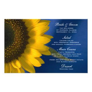 Sonnenblume auf blauem Hochzeits-Menü Briefpapier