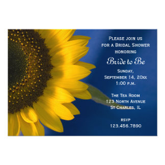 Sonnenblume auf blauer Brautparty-Einladung