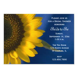 Sonnenblume auf blauer Brautparty-Einladung Karte