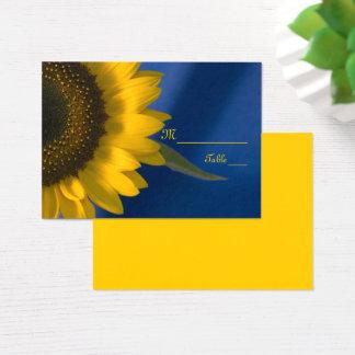 Sonnenblume auf blauer Hochzeits-Platzkarte Visitenkarte