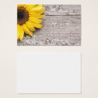 Sonnenblume auf einer hölzernen Tabelle Visitenkarte