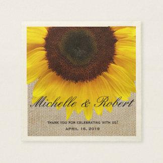 Sonnenblume auf Leinwand-rustikaler Servietten