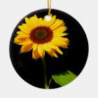 Sonnenblume auf schwarzem Hintergrund Keramik Ornament