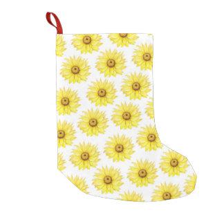 Sonnenblume auf Weiß Kleiner Weihnachtsstrumpf