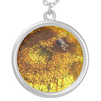 Sonnenblume, Biene u. Blume des Lebens Versilberte Kette