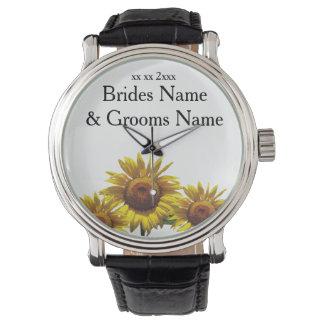 Sonnenblume-billige Hochzeit verpackt Armbanduhr