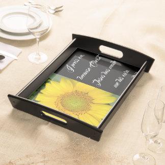 Sonnenblume-Blumen-Jesus-Bibel-Presse auf Serviertablett
