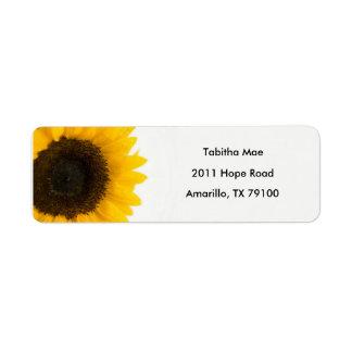 Sonnenblume-Blumenadressen-Etikett