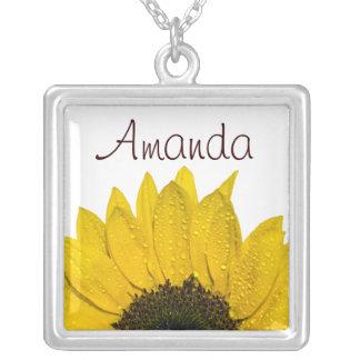 Sonnenblume-Blumenhalskette Versilberte Kette