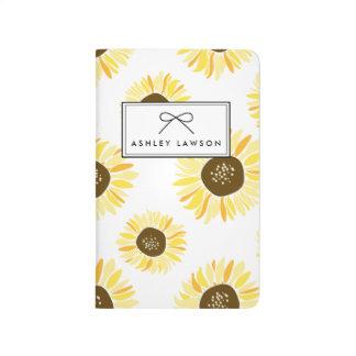 Sonnenblume-Blumenmuster-personalisierte Taschennotizbuch