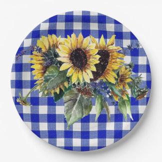 Sonnenblume-Blumenstrauß auf blauem Gingham Pappteller