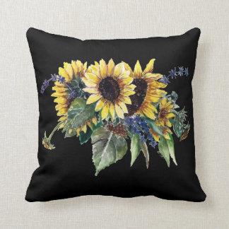 Sonnenblume-Blumenstrauß auf Schwarzem Kissen