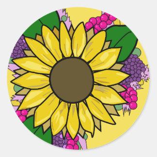 Sonnenblume-Blumenstrauß-Aufkleber Runder Aufkleber