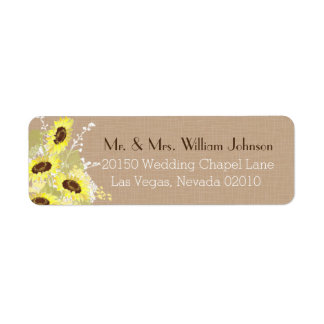 Sonnenblume-Blumenstrauß-Hochzeits-Aufkleber Kleiner Adressaufkleber