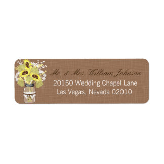 Sonnenblume-Blumenstrauß-Hochzeits-Aufkleber Rückversand-Adressaufkleber