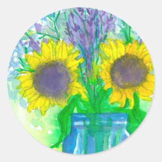 Sonnenblume-Blumenstrauß Runder Aufkleber