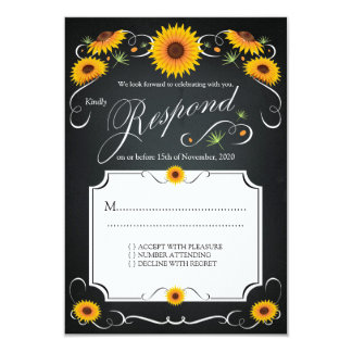 Sonnenblume-Blumentafel-Vintages Hochzeit UAWG 8,9 X 12,7 Cm Einladungskarte