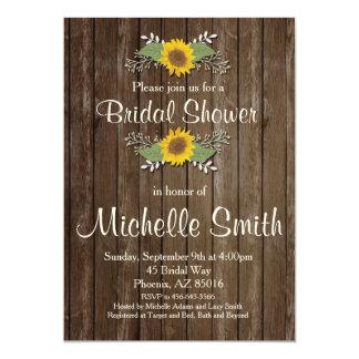 Sonnenblume-Brautparty-Einladung, rustikal, mit Karte
