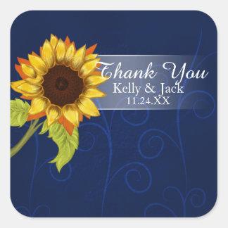 Sonnenblume/danken Ihnen Hochzeitsaufkleber Quadratischer Aufkleber