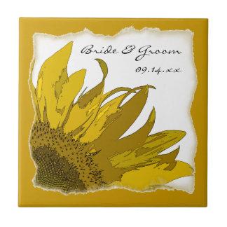 Sonnenblume-Eckhochzeit Kleine Quadratische Fliese