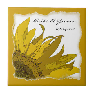 Sonnenblume-Eckhochzeits-Fliese Kleine Quadratische Fliese