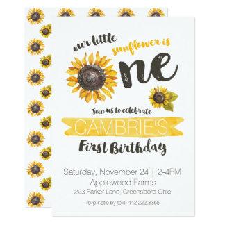 Sonnenblume Erste Geburtstags Einladung Karte