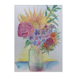 Sonnenblume, Flieder u. Rose Acryldruck