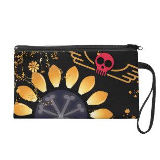 Sonnenblume-Fliegen-Schädel Wristlet Handtasche