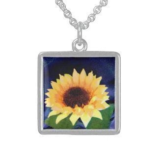 Sonnenblume-Fotohalskettengelb und -BLAU Sterling Silberkette