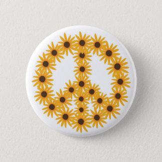 Sonnenblume-Friedenszeichenknöpfe Runder Button 5,7 Cm