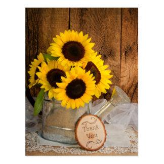 Sonnenblume-Garten-Gießkanne-Hochzeit danken Ihnen Postkarten