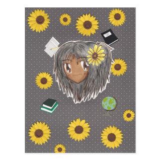 Sonnenblume-Gelehrter Hinata (chibi mit Collage Postkarte