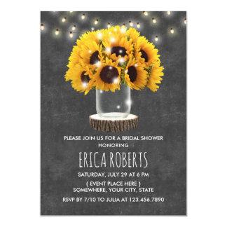 Sonnenblume-Glas-rustikales Tafel-Brautparty Karte