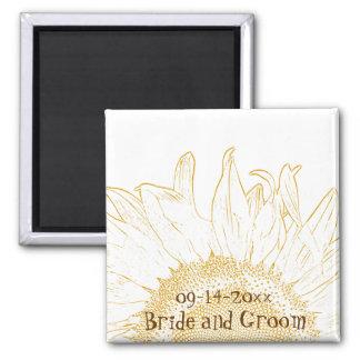 Sonnenblume-grafischer Hochzeits-Magnet Kühlschrankmagnete