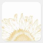 Sonnenblume-grafischer quadratischer Aufkleber