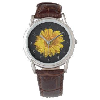 Sonnenblume-graues Skript nummeriert die Uhr der
