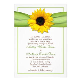 Sonnenblume-grüne Band-Hochzeits-Einladung