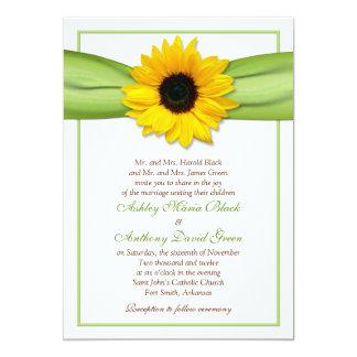 Sonnenblume-grüne Band-Hochzeits-Einladung 12,7 X 17,8 Cm Einladungskarte