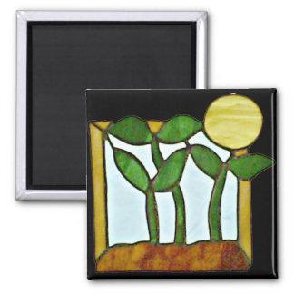 Sonnenblume-Grüntöne-Magnet Quadratischer Magnet