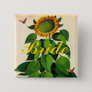 Sonnenblume-Hochzeits-Abzeichen-Knopf für Wedding Quadratischer Button 5,1 Cm