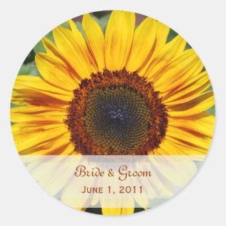 Sonnenblume-Hochzeits-Aufkleber Runder Aufkleber
