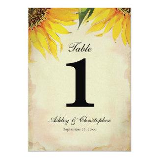 Sonnenblume-Hochzeits-Empfangs-Tischnummer eine Karte