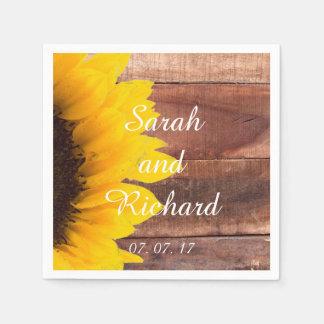 Sonnenblume-hölzerne rustikale papierservietten