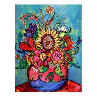 Sonnenblume im rosa Vase Postkarten