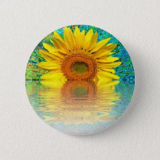 Sonnenblume im Wasser Runder Button 5,1 Cm