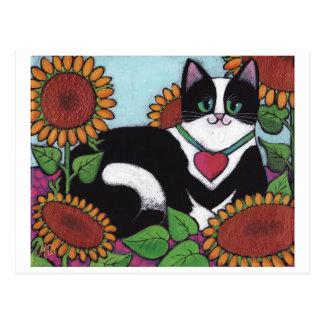 Sonnenblume-Katze Postkarte