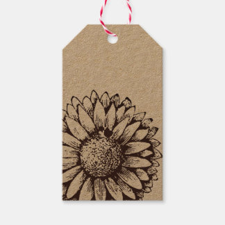 Sonnenblume-Kraftpapier-Geschenk-Umbau Geschenkanhänger