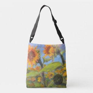 Sonnenblume-Kreuztasche mit schwarzem Logo Tragetaschen Mit Langen Trägern
