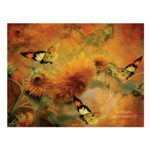Sonnenblume-Kunst-Postkarte